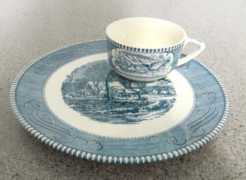 """CURRIER & IVES by Royal """"The Old Gristmill"""" - 2 pc SNACK SET -- VERY RARE!"""