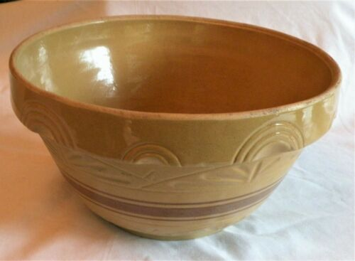 "Vintage EXTRA LARGE RRPCO. YELLOWWARE MIXING BOWL Brown Bands 14"" Arches & Fans"