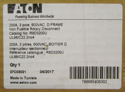 EATON CUTLER HAMMER R9D3200U Non Fusible Rotary Disconnect Switch UL98 C22 2N04