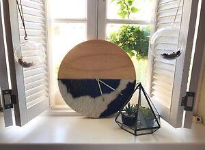 Clock handmade cowhide and pine Toorak Stonnington Area Preview