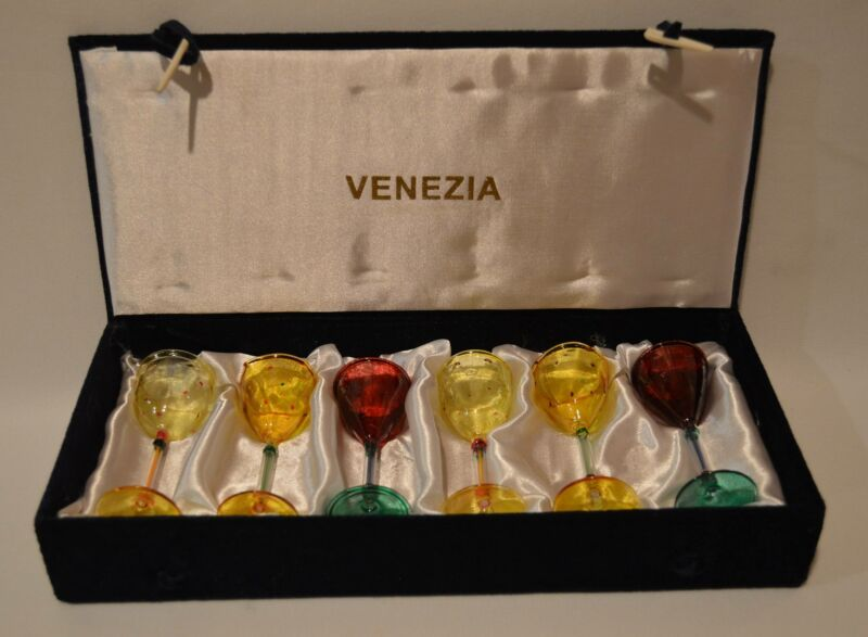 6 Venezia Boxed Set Italian Hand Blown Decorative Art Glass Cordials Vintage