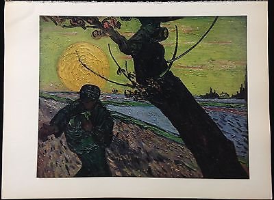 """1950 Vintage Full Color Art Plate """"THE SOWER"""" by VAN GOGH FARMING Lithograph"""