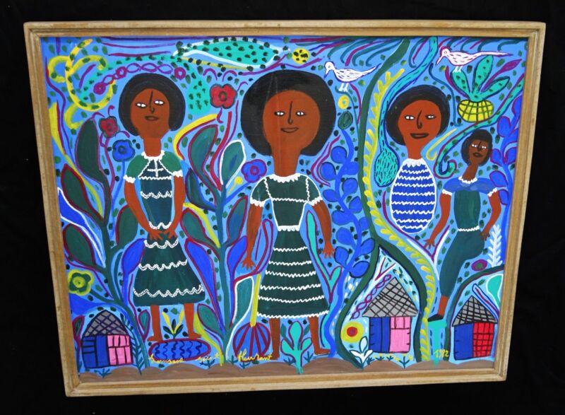 """1982 Haitian Acrylic Painting """"four Girls"""" By Louisiane Saint Fleurant (stea)"""