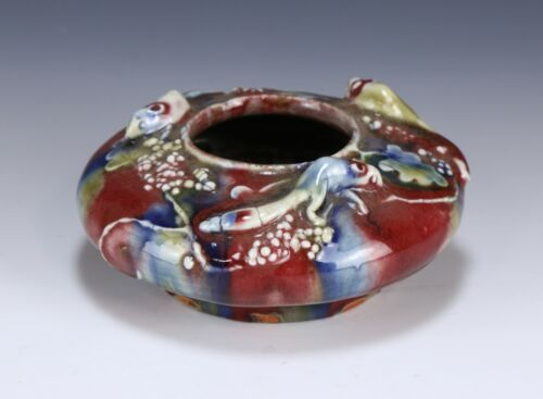 A CHINESE RARE ANTIQUE POLYCHROME OX-BLOOD PORCELAIN BRUSH WASHER