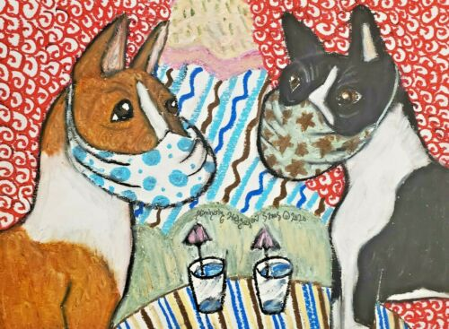 Basenji in Quarantine Collectible Dog Art Print 5x7 Signed by Artist KSams Mask