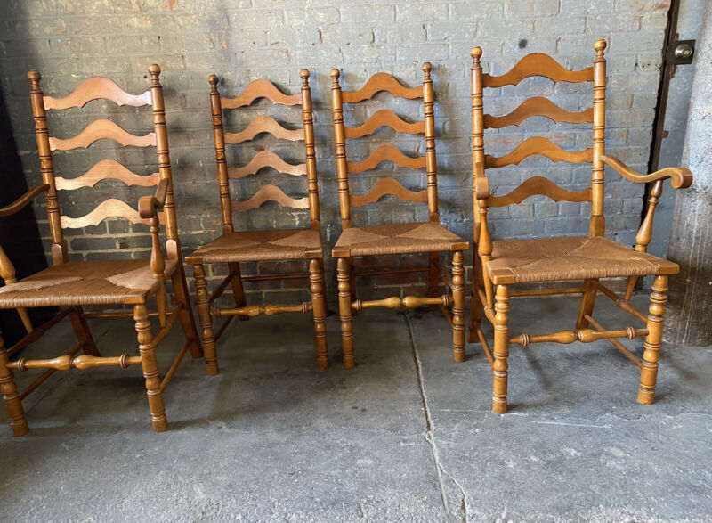 """Set of 4 Rush Bottom Vintage Ladder Back Dining Chairs Farmhouse """"CAN SHIP"""""""