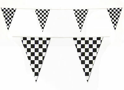 Checkered Flag Bunting 10m - Black and white Motor Racing F1 Check Banner
