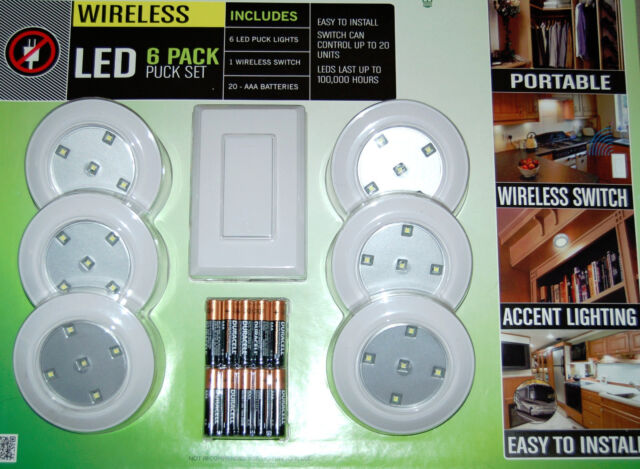 LightMates 6 Pack LED Puck Light Set w/ Remote Wall Switch u0026 Batteries ...