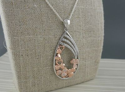 Fallen Shamrocks in Sterling Silver with Rose Gold Plate &CZs Pendant Ireland