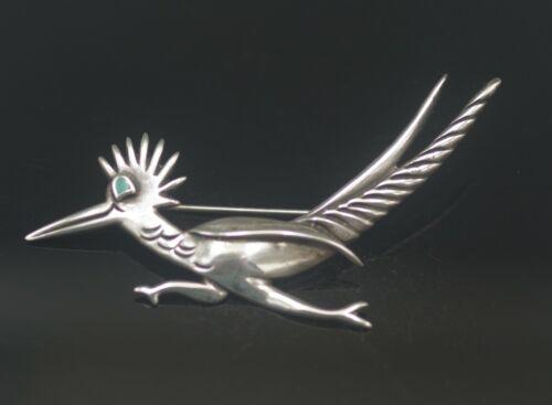 NATIVE AMERICAN NAVAJO TURQUOISE ROADRUNNER BIRD STERLING PIN BROOCH VINTAGE
