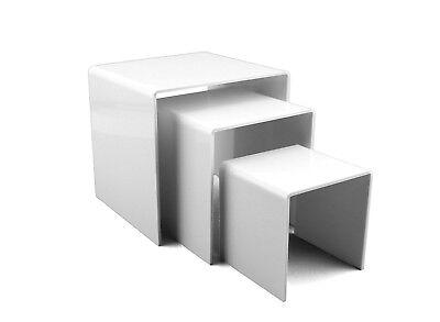 3pc White Acrylic Riser Set Jewelry Holder Product Display Showcase 3 4 5