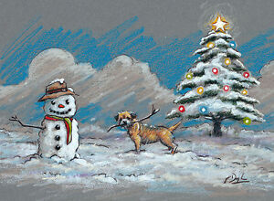 NEW Border Terrier Dog, Christmas cards pack of 10 by Paul Doyle. C470X
