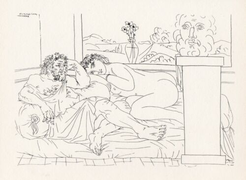 Pablo Picasso, Old Greek Sculptor with Model, Vase with Three Anemones, 1956