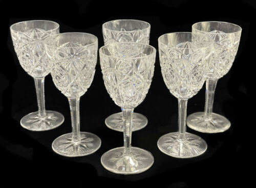 6 Baccarat France Cut Glass Wine Goblets in Lagny
