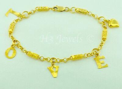 - 18k yellow gold mixed charm Love bracelet  diamond cut 7.00 h3jewels #5185
