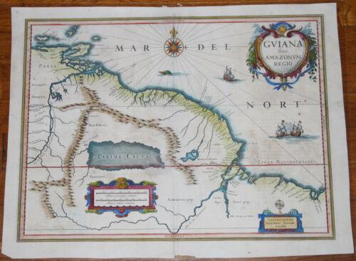 "1640 Blaeu map of Guiana and Amazon - 19.5"" x 14.5"" - Antique - Superb color"