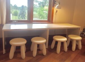 Two IKEA Stuva benches with 4 child stools