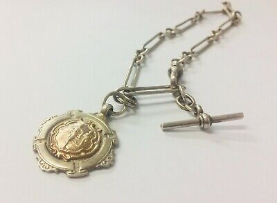 Solid Silver pocket watch chain vintage links with a unique fob 29.6g 13 inches