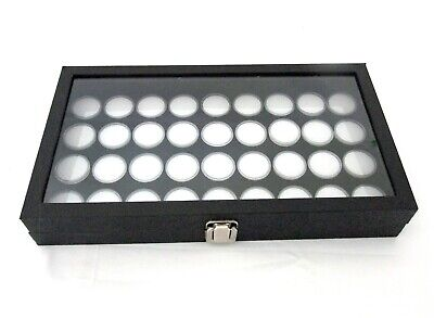 Glass Top Jewelry Display With 36 Round Gem Jars White Jars Black Foam