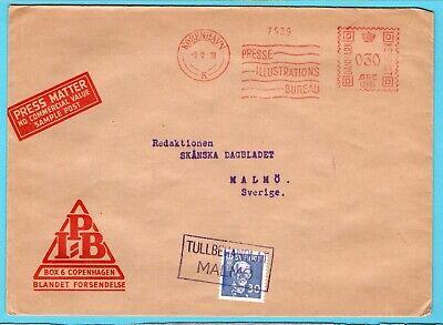 DENMARK red meter cover 1938 Copenhagen to Malmö Sweden Tullbehandlat