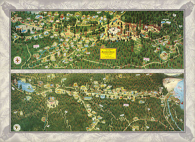 Pictorial Map Bohemian Grove Sonoma County California Wall Art Poster Print