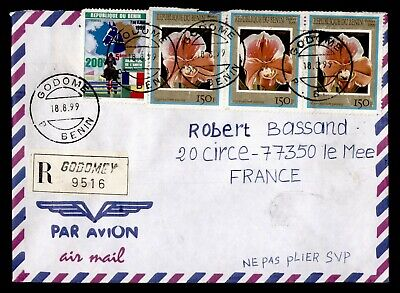 DR WHO 1999 BENIN GODOME REGISTERED AIRMAIL TO FRANCE  g16549