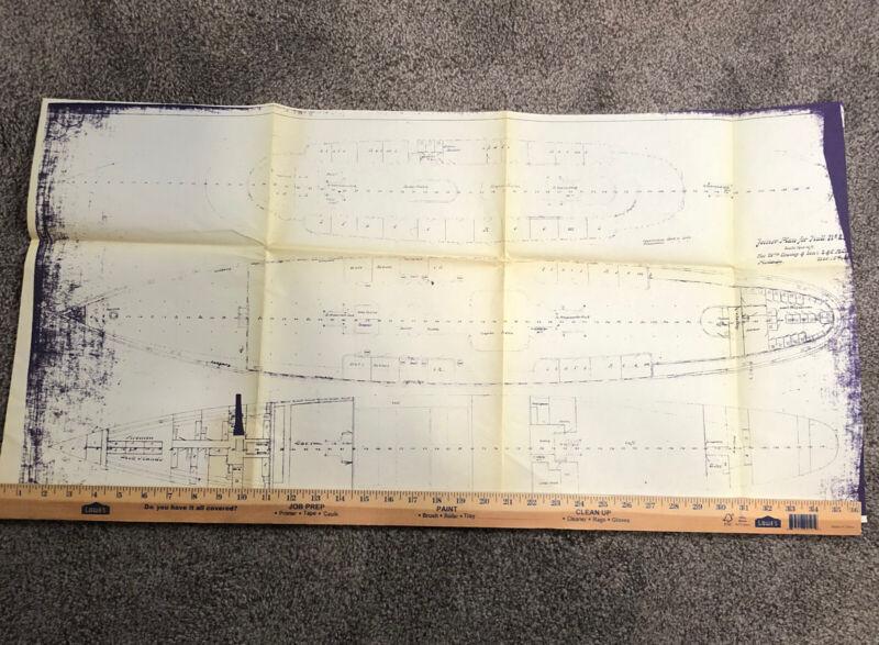 Boat Blue Print For Joiner Plan For Hull Cramp &Sons Nautical Nov 5 188? Phila