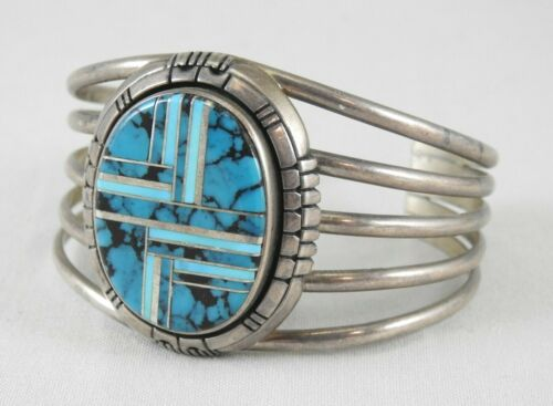 Native American R. Tom Navajo Inlay Turquoise Sterling Silver Cuff Bracelet