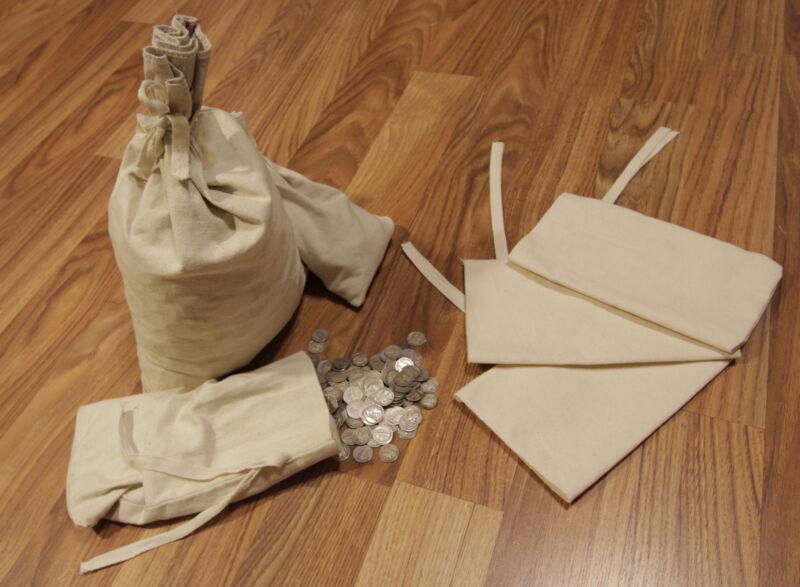 "Canvas Blank Money Bag Bank Deposit Transit Coin Sack Bags 6.5x9.5"" Tie String"