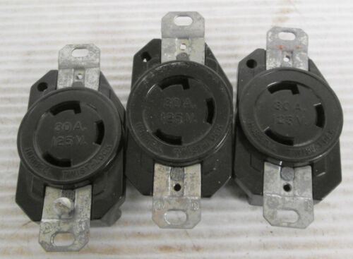 (3) Hubbell 30A 125V Twist Lock Receptacle