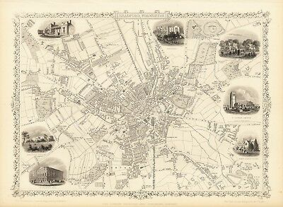 Antique Bradford England decorative map Tallis 31,5 x 23,6 inch canvas