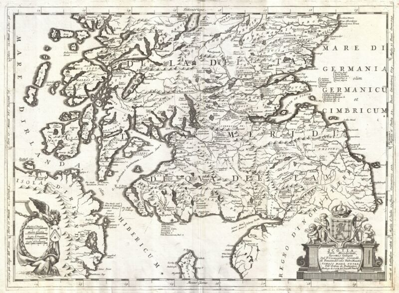 1690 Coronelli Map of Southern Scotland (Edinburgh and Glasgow)