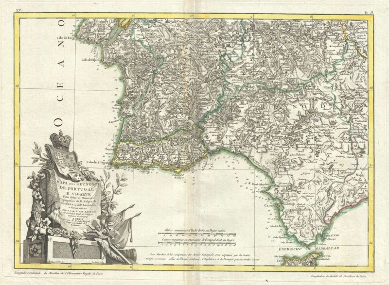 1778 Zannoni Map of Southern Portugal, the Algarve, and Seville