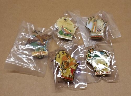Wisconsin Lions Club Pins 1985 1987 1993 1995 1996 LOT OF 5 New in Packaging
