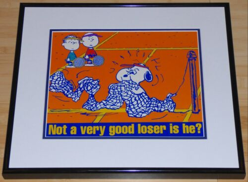 PEANUTS SNOOPY CHARLIE BROWN LINUS TENNIS COACH FRAMED POSTER PRINT SCHULZ