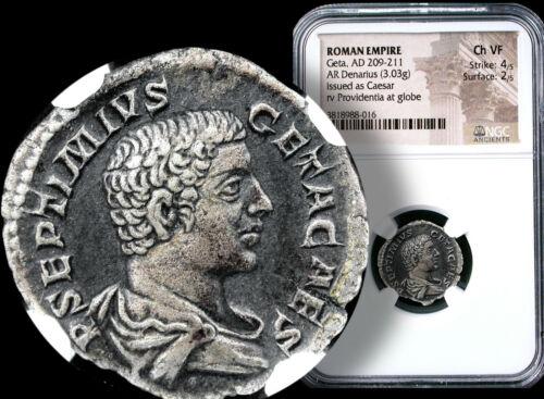 GETA, Roman Emperor 209-211 AD. SILVER Denarius NGC  Ch. VF + COA