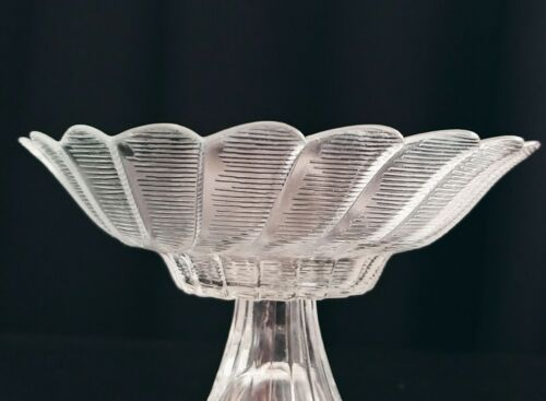 RARE Vintage Small Clear Pedastal Panelled Striated Candy Bowl Trinket Dish - $24.90