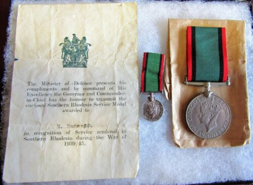 RHODESIA WAR SERVICE MEDAL - FULL SIZE & MINI COMPLETE W/ISSUE PAPER & ENVELOPE