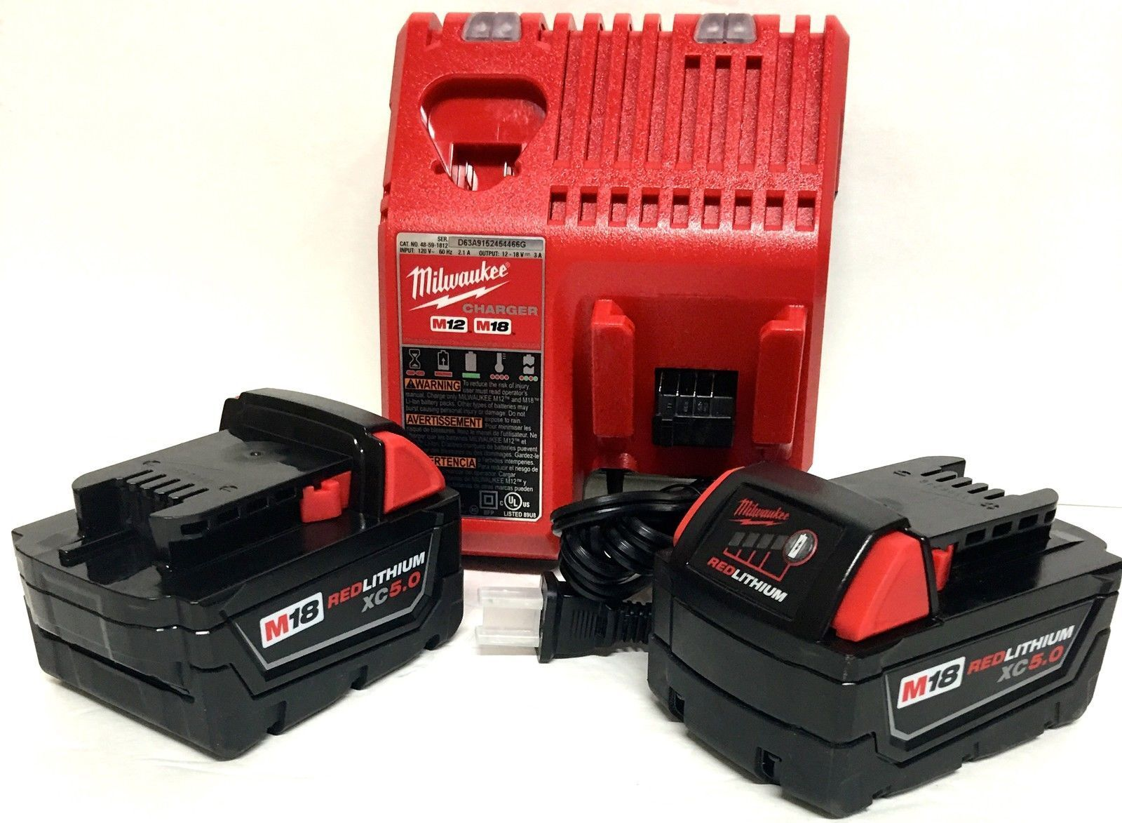 2 New Milwaukee M18 XC 5.0 Ah Batteries 48-11-1850 & 1 Charger 48-59-1812