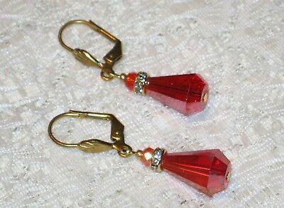 Austrian Crystal Drop Earrings Coral Red Teardrop Artisan Vintage (Austrian Crystal Teardrop Earrings)