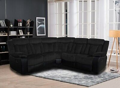 Living Room Two Tone Reclining Sectional Sofa Set Wedge Black Upholstered -
