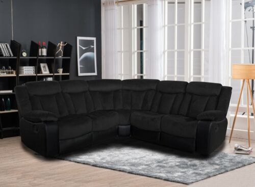Living Room Two Tone Reclining Sectional Sofa Set Wedge Black Upholstered Couch