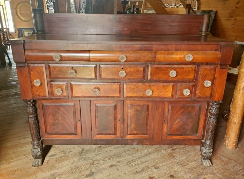 FEDERAL EMPIRE PERIOD MAHOGANY SIDEBOARD W APOTHECARY DRAWERS