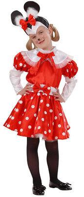 Mäuse Kostüm für Mädchen Maus Mouse Mäuschen Kinderkostüm, rot - weiß, Gr. 98