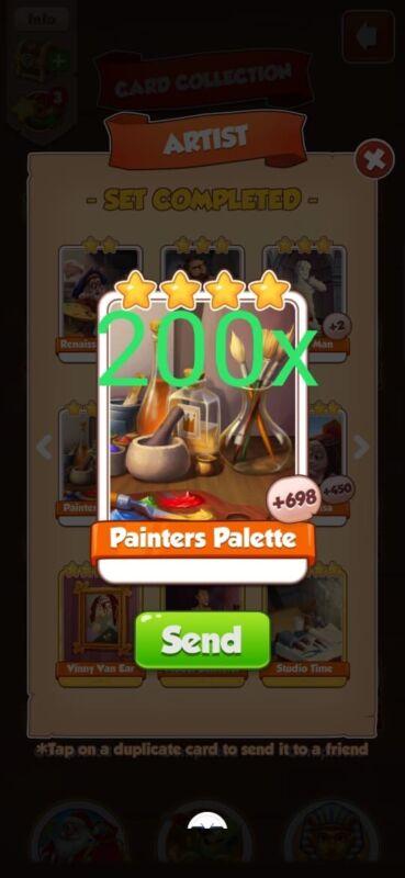 200X Painter Pellets Coin Master Rare Cards Artist Card Set Pack Lot