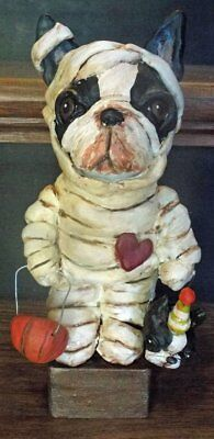 New Halloween Folk Art Boston Terrier Dog Mummy Halloween Vintage Doll  ()