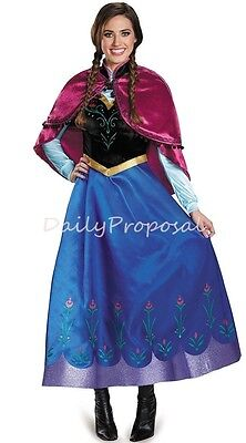 AA2 Adult Anna Winter Dress High Quality Frozen Halloween Costume PS-PXL USA