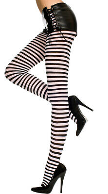 Queen Womens Plus Size Opaque Striped Tights, Plus Size Pantyhose Black Striped Tights Pantyhose