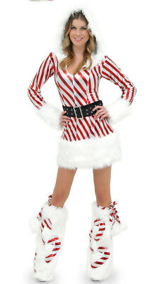 Womens Candy Cane Hooded Dress With Leg Warmers Valentine Day Junior Size 2 XXS - Candy Cane Costumes