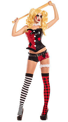 Good Party Costumes (Sexy Party King No Good Harlequin Jester Sequin Corset Costume)